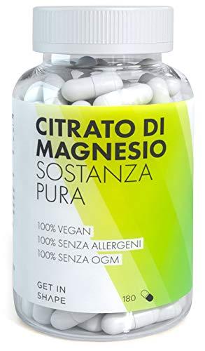 Magnesio citrato - 180 capsule di sostanza pura ad alto dosaggio (301,5 mg di magnesio citrato per dose giornaliera) - da Get In Shape