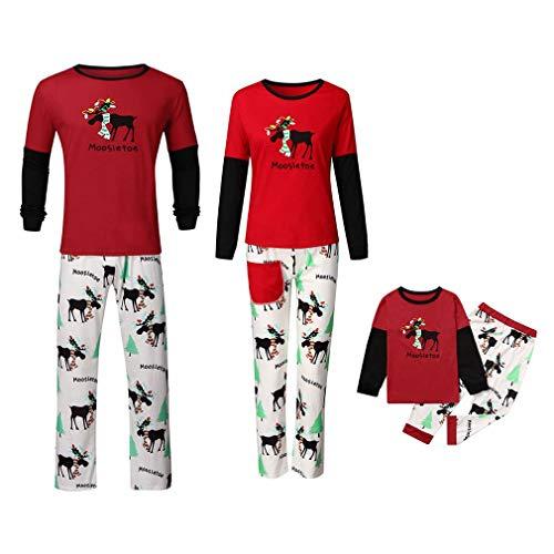 Coversolate Fun-Nachtwäsche Weihnachten Schlafanzug Familien Pyjama Set Herren Lang Nachthemd Jungen Mädchen Hausanzug Familie Schlafanzüge Winter Homewear Kinder 3-4T