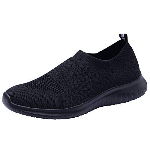 TIOSEBON Men's Walking Shoes Mesh Lightweight Breathable Yoga Travel Sneakers 11 US All Black