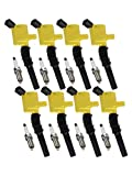 ENA Heavy Duty Ignition Coil and Platinum Spark Plug Set of 8 Compatible with 1998-2011 Ford Crown Victoria Lincoln Town Car and Mercury Grand Marquis 4.6L V8 DG508 SP493