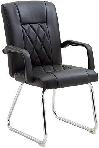 Lederen werkstoel, bureau-werkstoel voor staand model met de arm, zwart