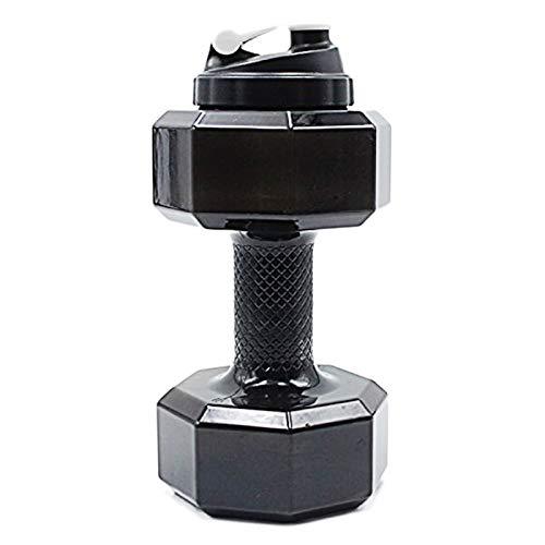 Gaoominy 75 OZ (2.2 L) Botella de Agua en Forma de Mancuerna | Gran Capacidad | Libre de Bpa | Tapa a Prueba de Fugas Superior Tirón |(Negro)