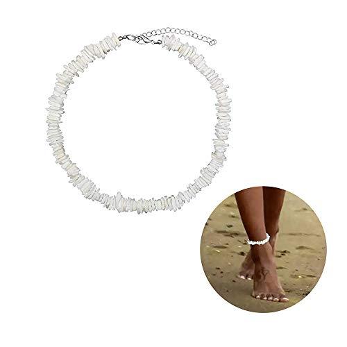 Puka Shell Ankle Bracelet for Women - Shell Anklet Bracelet Native Puka Surfer Hawaiian Beach Shell Adjustable Bracelets Anklet Gifts for Girls