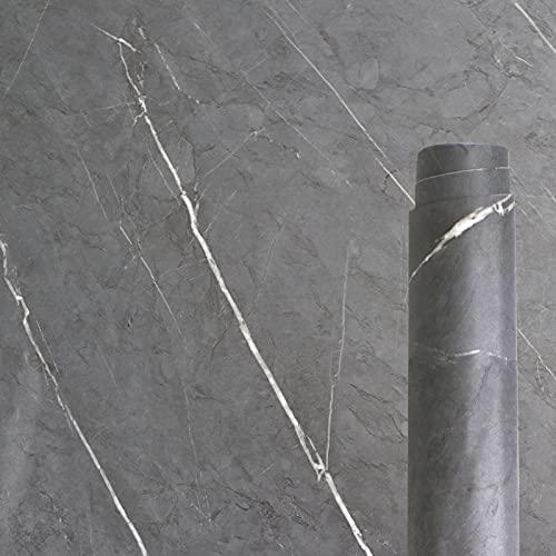 Awnic Lámina adhesiva para muebles, color gris oscuro, textura de mármol, para armarios de cocina, armarios, cocina, resistente al agua, 40 x 300 cm