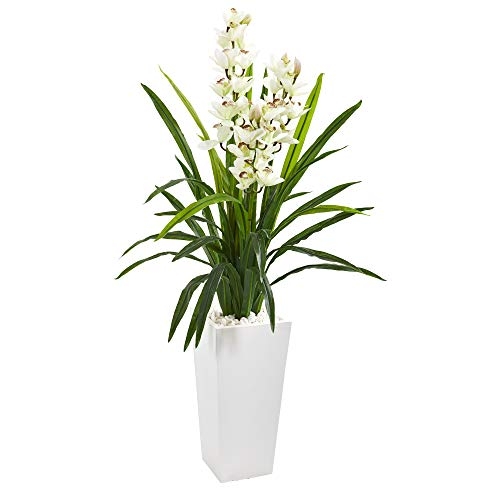 Nearly Natural 4.5' Cymbidium Orchid Artificial White Tower Planter Silk Plants, Green