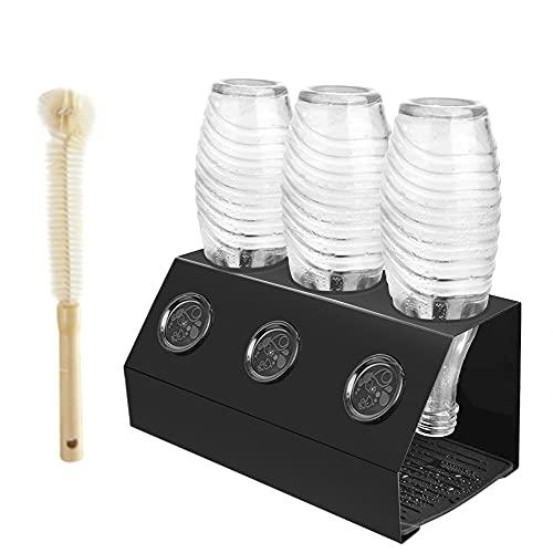 Baker Boutique Flaschenhalter für Sodastream Crystal 3er Abtropfständer Edelstahl Emil SodaFlasche StreambrushAbtropfschale mit Deckelhalterund Silikondichtung AbtropfgestellSilikonabtrofpmatte