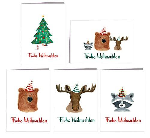 Weihnachtskarten Set - Frohe Weihnachten - 5er Tiere - Karte Frohe Weihnachten Geschenkkarte - 100% Recyclingpapier