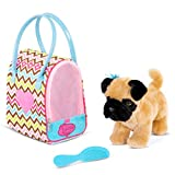 Pucci Pups by Battat – Toy Pet Carrier – Plush Puppy in Toy Purse – Dog Stuffed Animal – Zigzag Print Bag with Pug Pup – 3 Years + (ST8366Z)
