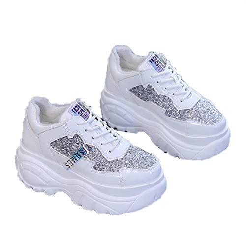 Zapatillas de Plataforma para Mujer Impermeables de Punta Redonda con Cordones de Lentejuelas Zapatillas para Caminar Antideslizantes Zapatos Casuales Deportivos