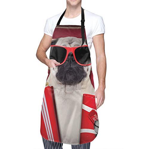 COFEIYISI Delantal de Cocina Pug perro gracioso viendo películas palomitas de maíz refrescos y vasos fotografía de animales impresión decorativa rojo crema rubí Delantal Chefs Cocina