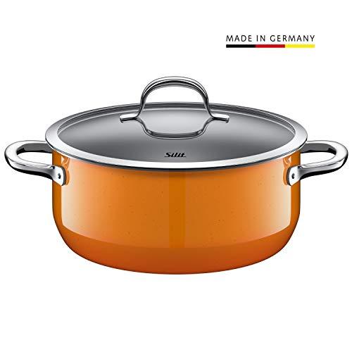 Silit Passion Orange Kochtopf 24cm, Glasdeckel  Bratentopf 4,4l, Silargan Funktionskeramik, Topf Induktion, orange
