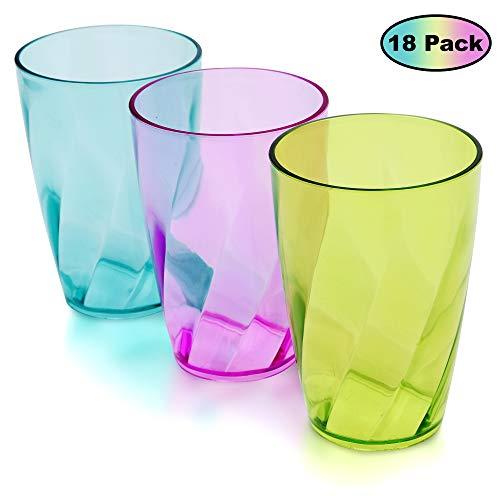 Vasos de Plástico coloreado (Set de 18) - 450 ml Reutilizables Copas de Agua - Vasos de Plástico para Fiestas, Bodas, Camping y Picnic - Estilo Cristal Tazas Set - Apto para Lavavajillas