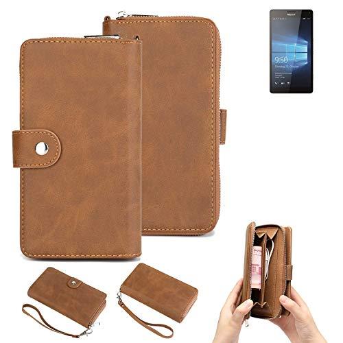 K-S-Trade® Handy-Schutz-Hülle Für -Microsoft Lumia 950 XL Dual SIM- Portemonnee Tasche Wallet-Case Bookstyle-Etui Braun (1x)