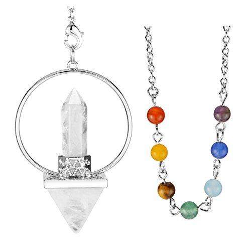 QGEM - Reloj de péndulo radiestesia divinatorio de energía, piedra de cuarzo y cristal de cobre, forma Reiki, pirámide hexagonal, 7 piedras chakras (cuarzo cristal de roca blanco)