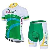 DNJKH Ropa de Ciclismo de Verano Hombre Rápido Seco Profesional Bicicleta Maillot Equipo de Ciclismo Jersey Pantalones Cortos de Bicicleta Desgaste