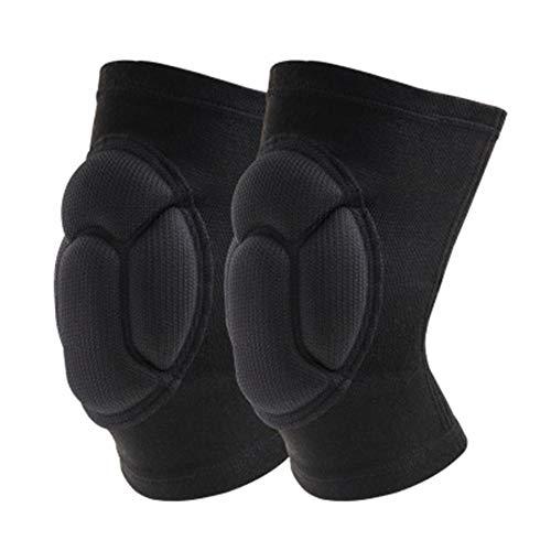 Yuzhijie Protector de rodilla de esponja de alta densidad anti caída y anti colisión deportes rodilleras protector de voleibol danza patinaje par protector de rodilla negro - S