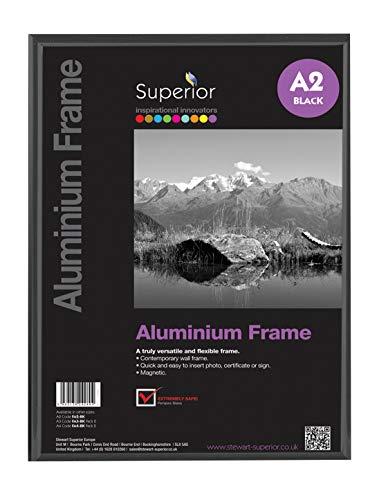 Stewart Superior A2horizontal/vertical con vidrio cristal de seguridad aluminio marco de fotos–negro
