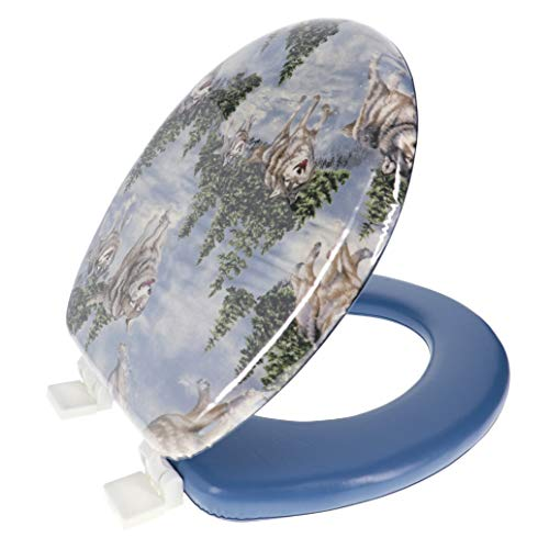 Ginsey Standard Soft Toilet Seat with Plastic Hinges, Blue Wolves