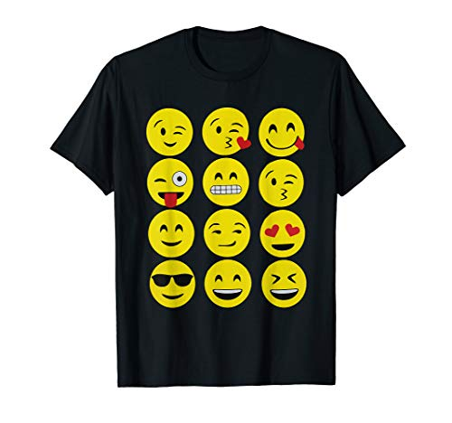 Emojis T-Shirt Funny Emoji Yellow Face Emoticons Top Tee