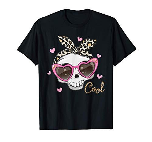 Linda calavera con gafas de sol para niñas y mujeres Camiseta