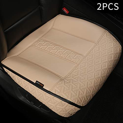 Auto Newer Luxury Waterproof Leather Car Seat Cover,Protectors for Front Seat Bottoms, Full Wrapped Edge and Universal Anti Slip Seat Cushion, Compatible with 95% Cars,SUV,Trucks (Beige,2PCS)