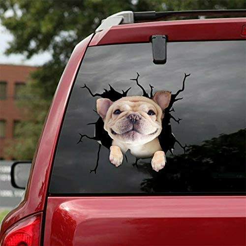 New Listing French Bulldog Crack Sticker Dogs Lover Decal Car PVC Plastic Window Laptop