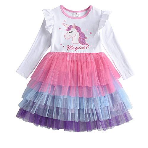 DXTON Vestidos para Niñas Vestido Patrón de Unicornio Vestido Princesa Fiesta Ropa de Niña LH4980-6Y