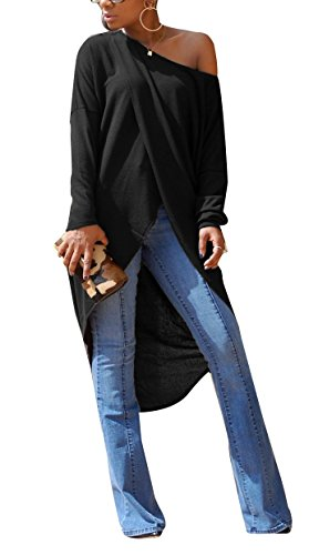 Womens Sexy Front Split Long Sleeve Off Shoulder Clubwear Party Maxi Dress Tops Black L