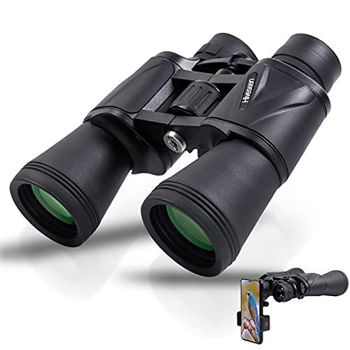Hiveseen Prismáticos Profesionales, 20x50 Binoculares de Alta Potentes Impermeables con Adaptador para Teléfono, Prisma BAK4, Adecuados para Adultas Observación de Aves, Caza y Vean Juegos