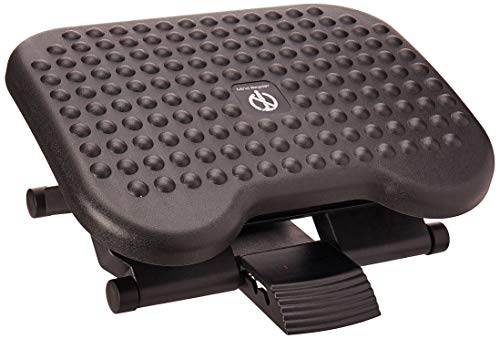 Mind Reader Comfy Rest, Ergonomic Foot, Pressure Relief for Comfort, Back, and Body, 3 Height, Black