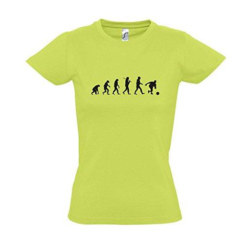 Damen T-Shirt - Evolution - Bowling Sport Fun Kult Shirt S-XXL, Apple Green - schwarz, S