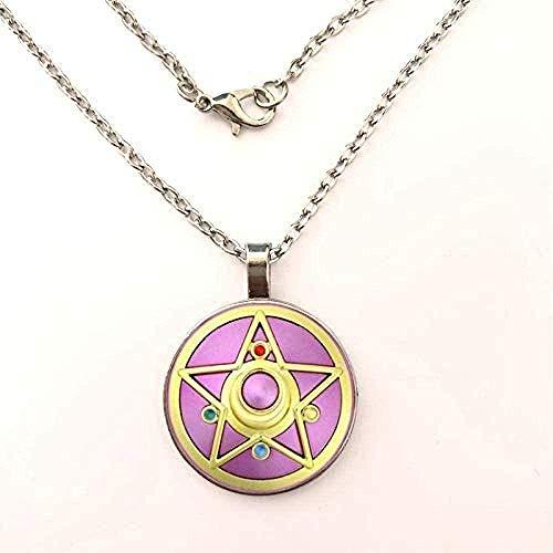 Yiffshunl Collar Hermoso Collar de niña guerrera Collar Cinco Estrellas Estrella Sailor Moon Collares y Colgantes Cúpula de Vidrio Collar Largo Mujeres Mejor Regalo