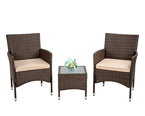 FDW Outdoor Patio Furniture Set,3 Pieces Wicker Bistro Set Outdoor Patio Set Rattan Chair Conversation Sets Patio Sofa Wicker Table Set for Yard Backyard Lawn Porch Poolside Balcony,Khaki Cushion