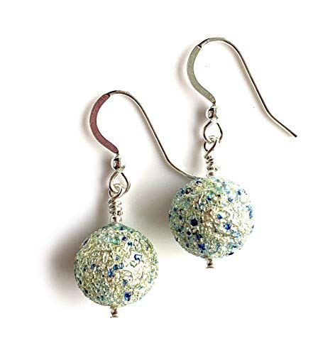 Diana Ingram earrings with speckled blues over white gold Murano glass small sphere drops on Sterling Silver or 22 Carat gold vermeil hooks