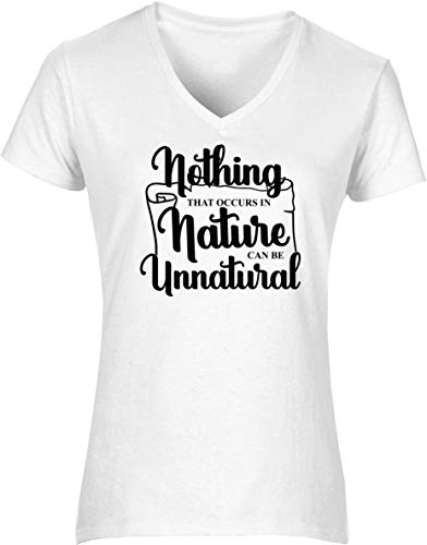 Hippowarehouse Nothing That occurs in Nature can be Unnatural Womens V-Neck Short Sleeve t-Shirt (Specific Size Guide in Description) Fuchsia Pink