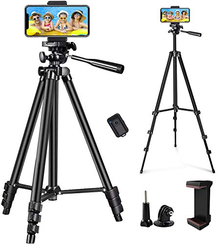 """LINKCOOL Phone Tripod 50"""" Adjustable Travel Video Tripod Stand with Phone Mount Holder Compatible with Cell Phone Tripod, Action Camera Tripod, DSLR Tripod with Wireless Remote Shutter (Black)"""