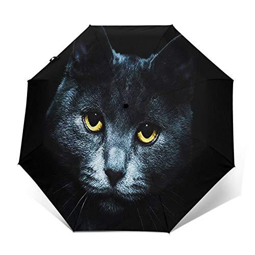 Paraguas Plegable Automático Impermeable Gato Negro Ahumado, Paraguas De Viaje Compacto A Prueba De Viento, Folding Umbrella, Dosel Reforzado, Mango Ergonómico