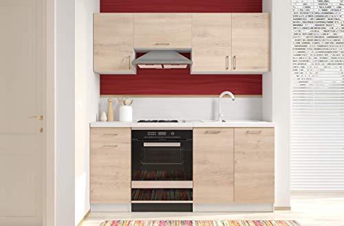 Arreditaly Cucina Componibile Completa di Mobili Pensili Sospesi e Mobili Base Cucinino Moderno in Laminato da 180 Cm da Incasso (Rovere Chiaro)