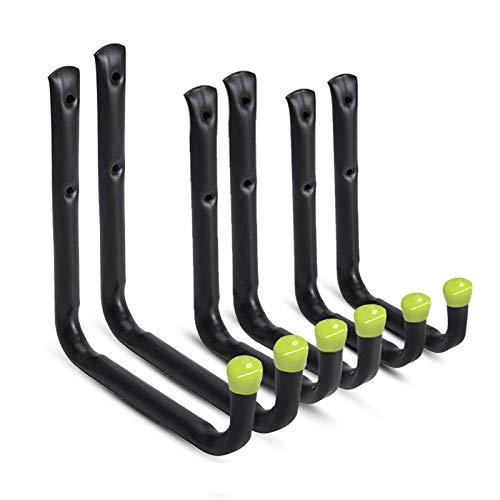 UISEBRT 6 Stück Wandhaken Garage Montagehaken-Set Befestigungshaken Wandhalterung für Leiter, Geräte, Werkzeuge, Stuhl und Schlauch