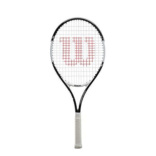 Wilson Raqueta de tenis, Roger Federer 26, Jugador júnior de 11 años en adelante, Aleación AirLite, Negro/blanco, WR028210U