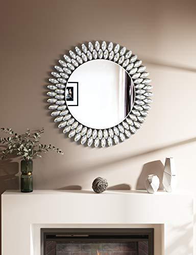 Crystal Decor Espejo – 23.6' x 23.6' acrílico redondo espejo de pared para decoración de chimenea, dormitorio, sala de estar