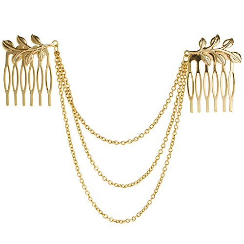 Personality Chic Gold Tone Leaf Hair Cuff Chain Comb Headband by Broadfashion