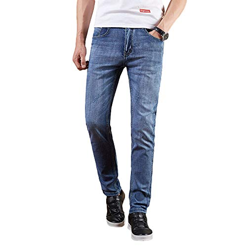 Jeans para Hombres Primavera y Verano Nuevos Jeans Rectos de Negocios Stretch Casual Jeans Americana 30