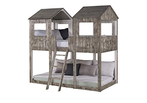 DONCO Twin Tower Bunk Bed BUNKBED, TWIN/TWIN, Rustic Dirty White