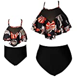 Baby Girls High Waisted Swimsuit Bikini Toddler Bathing Suit Family Mommy and Me 2-3 Years 104 Floral Black