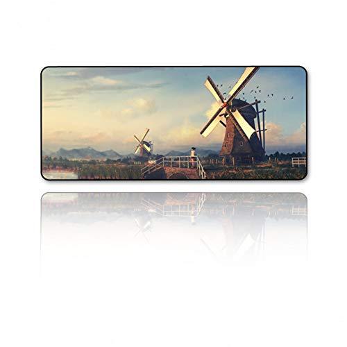 JUMOQI muismat windmolen in Nederland Hd beeldkwaliteit notebook computer Pc toetsenbord en muis matten anti-slip wasbaar Xl 400X800X2MM
