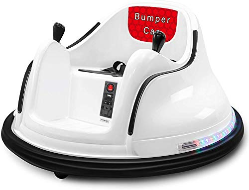 BROAGE Kids Race Toy 6V Electric Ride On Bumper Car Vehicle Remote Control 360 Spin DIY Numbers 00-99 ASTM-Certified Dark White