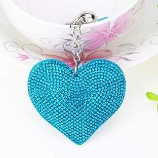 Car Interior Accessories 2 PCS Heart Keychain Leather Tassel Gold Key Holder Metal Crystal Key Chain Keyring Charm Bag Auto Pendant Gift(purple) (Color : Light blue)