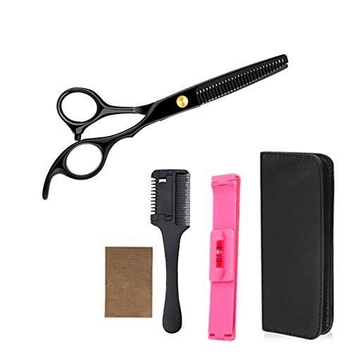 BATQER Tijeras, Conjunto de Tijeras de peluquería de Acero Inoxidable Negro, Herramientas de Pelo Profesional, Tijeras de Dientes, Conjunto de 5 Piezas