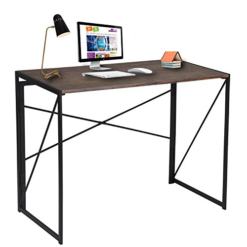 Folding Computer Desk No-Assembly Simple Study Desk Writing Table Home Office Desk for Adult & Kids 100 x 50 x 75 cm Brown